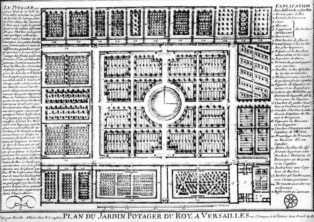 Plan du Potager du Roi par Gabriel Pérelle