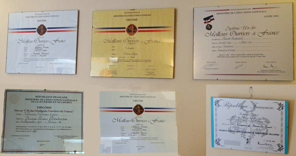 Les diplômes des 5 MOF