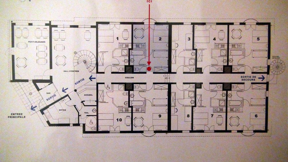 Plan des chambres du rez-de-chaussée