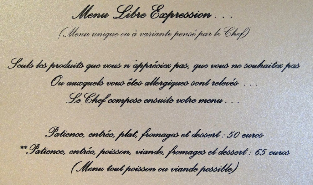 Menu libre expression
