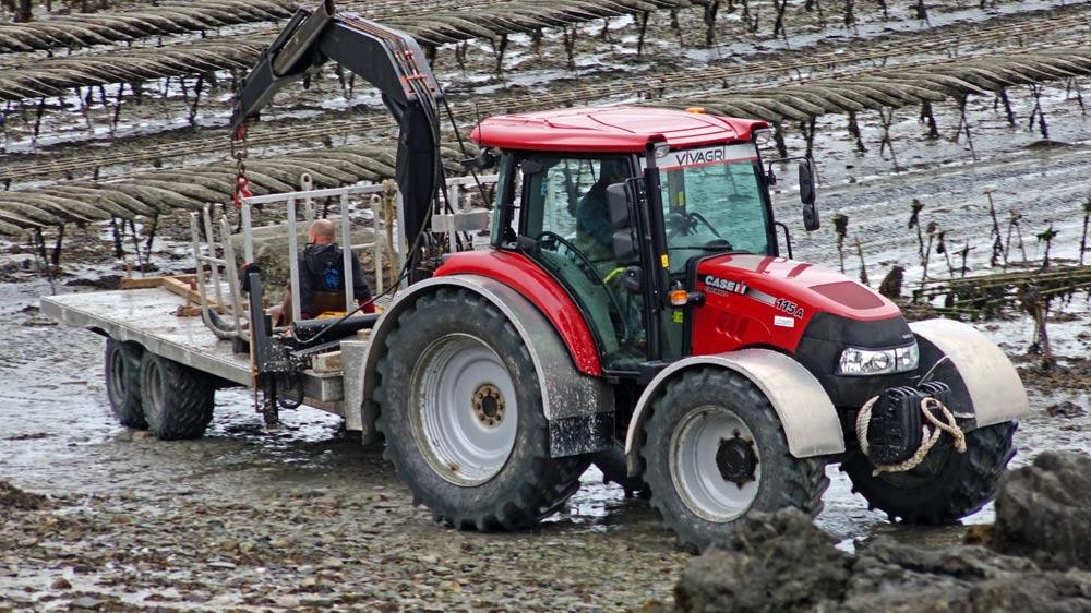 Un tracteur s'affaire avant que la marée remonte