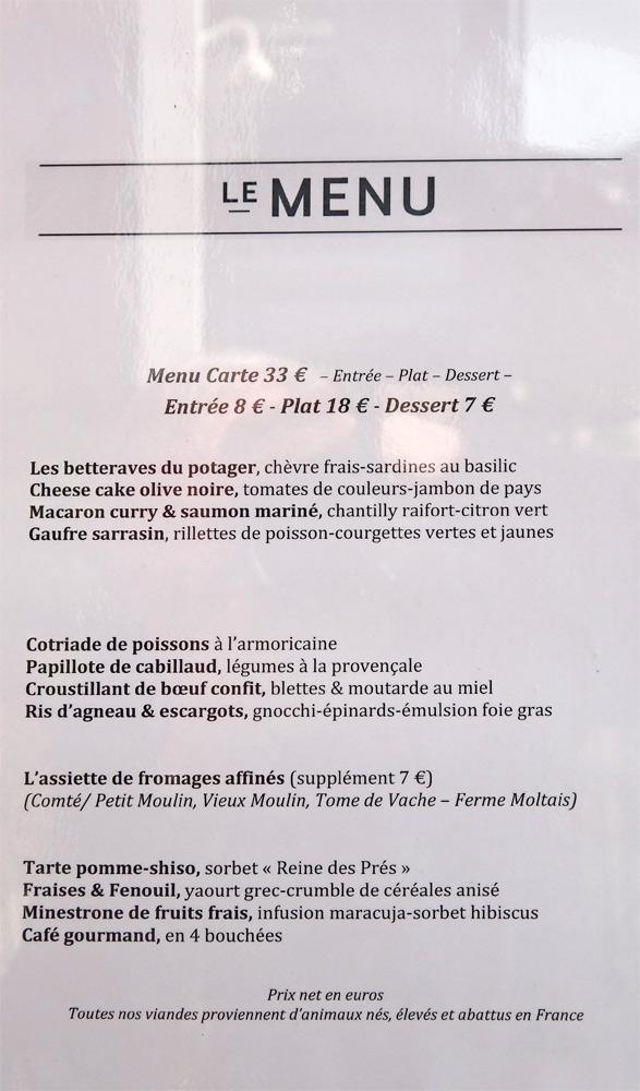 """Le menu """"Gourmand"""" affiché à l'extérieur"""