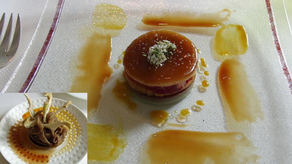 Millefeuille d'artichaut, foie gras, magret de canard fumé et homard, gelée de canard, croustillance de sarrasin et artichaut à la croque au sel