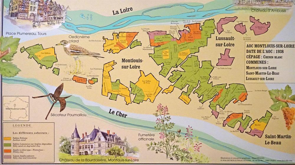 La carte de l'appellation Montlouis-sur-Loire