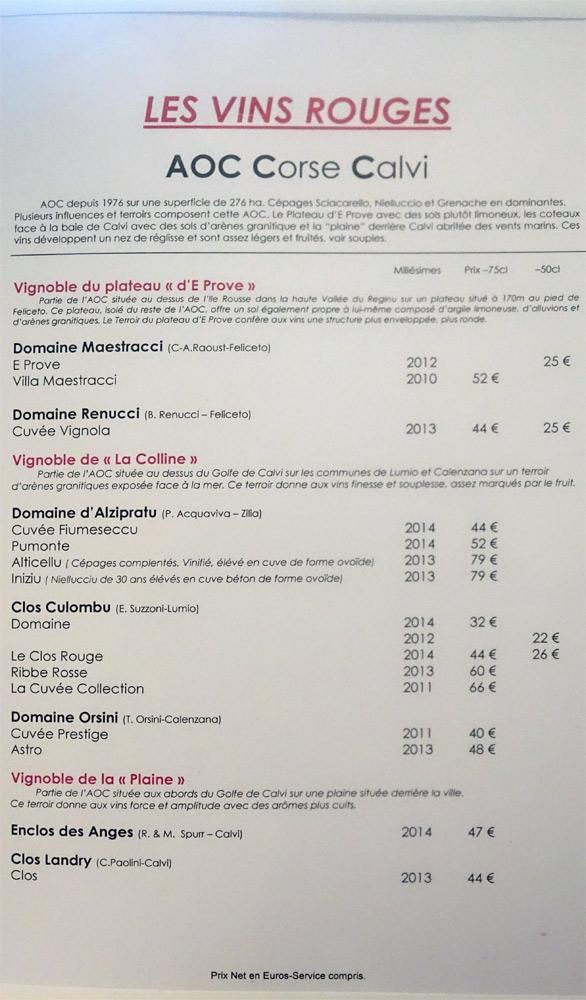 Vins rouges de Calvi