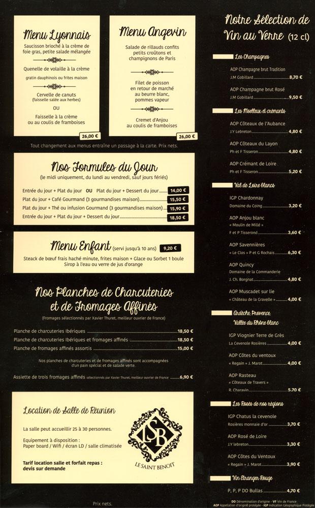 La carte : Formules et vins au verre (blancs)