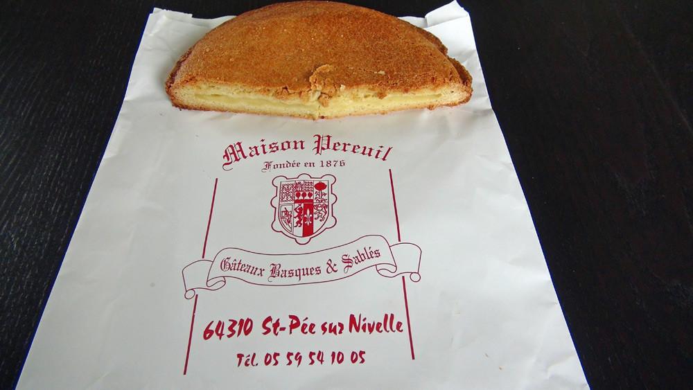 Intérieur du gâteau basque à la crème de chez Pereuil