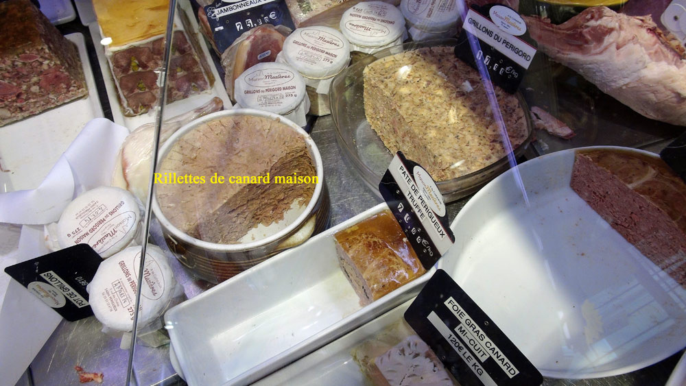 Rillettes de canard, Grillons du Périgord, Pâté de tête, Foie gras de canard mi-cuit, Jambonneau, Pâté de Périgueux truffé ...