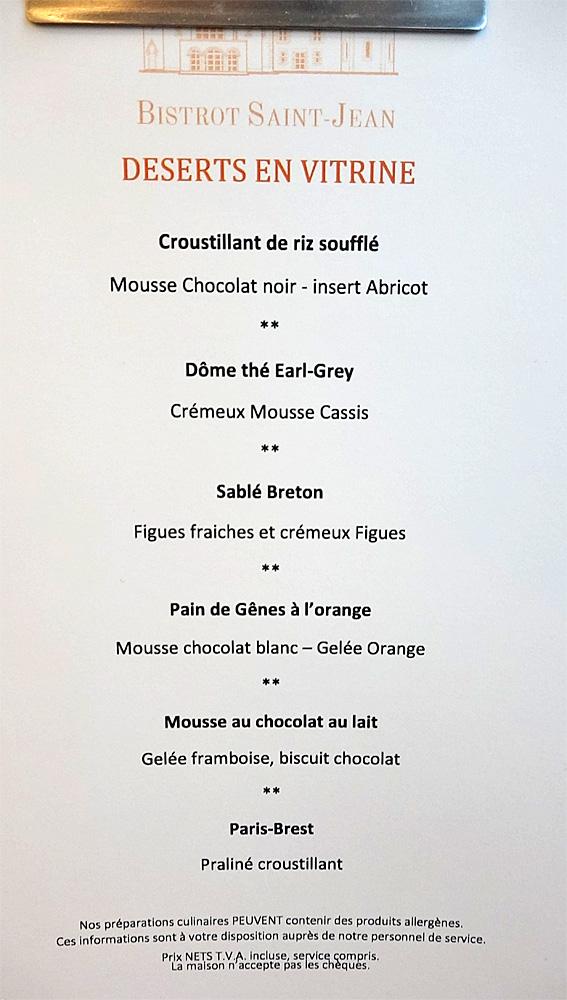 """Carte des desserts, bien fournie, rien de """"désert"""""""