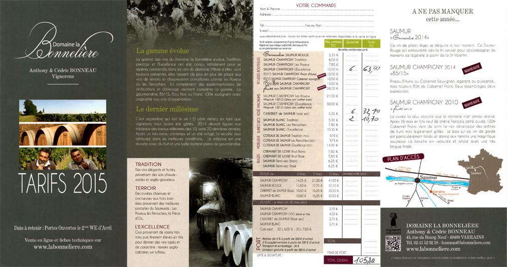 Tarif et note de vins de Saumur