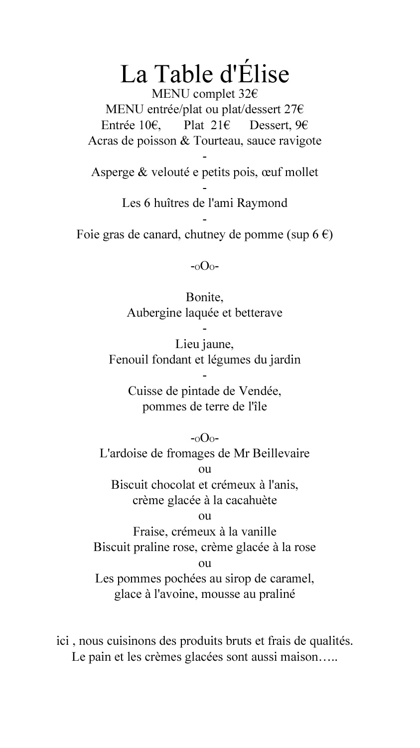 Menu Bib gourmand