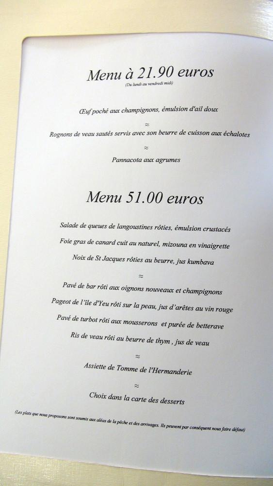 Menus à 21 € 90 et 51 € 00