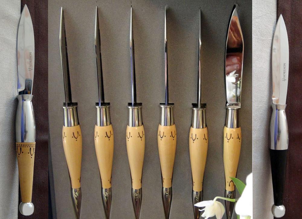Les couteaux de Nontron (A droite celui en ébène et à gauche celui en buis)