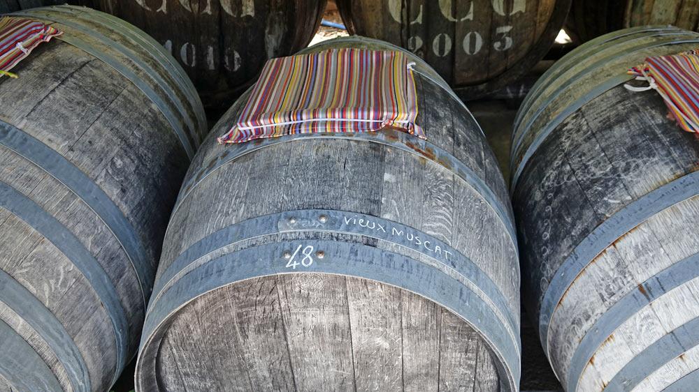 Un tonneau de vieillissement de vinaigre de Vieux-Muscat