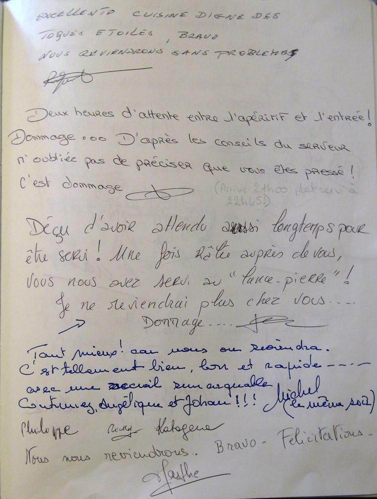 """La fameuse page du Livre d'Or où """"les """"cons osent tout, c'est à ça qu'on les reconnait"""" (Michel Audiard)"""