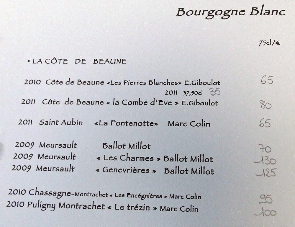 Vins de Bourgogne blancs
