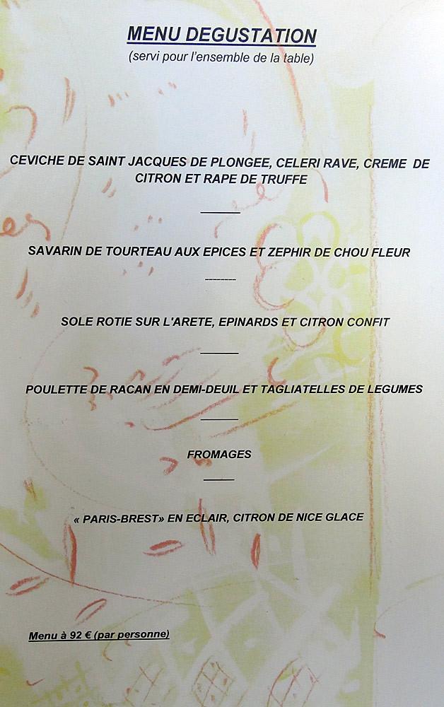 """Menu """"Dégustation"""" en 6 services pour 92 € 00"""