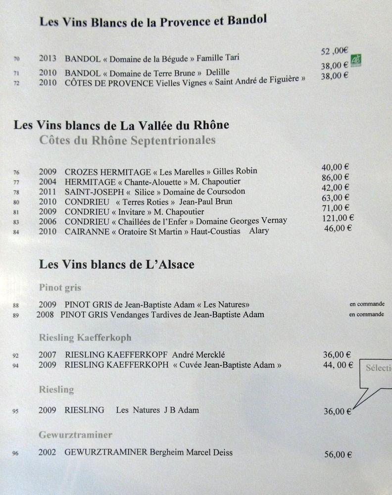 Vins blancs Provence, Côtes du Rhône et Alsace