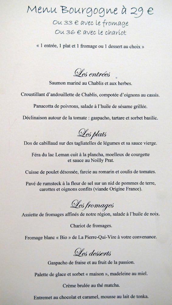 """Le menu """"Bourgogne"""", """"Bib Gourmand"""" depuis 2008"""