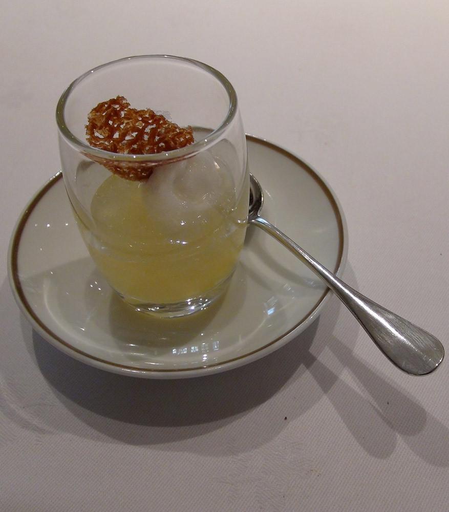 Sorbet à la fleur de sureau, gelée d'agrumes