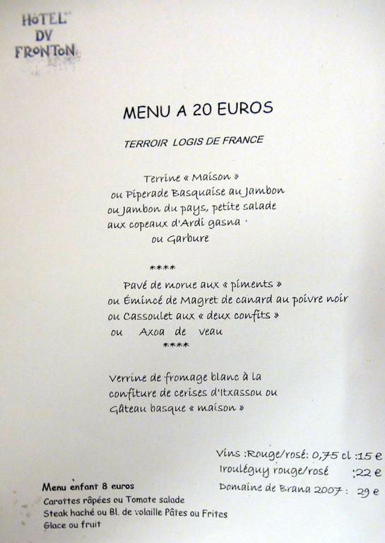 Menu à 20 €