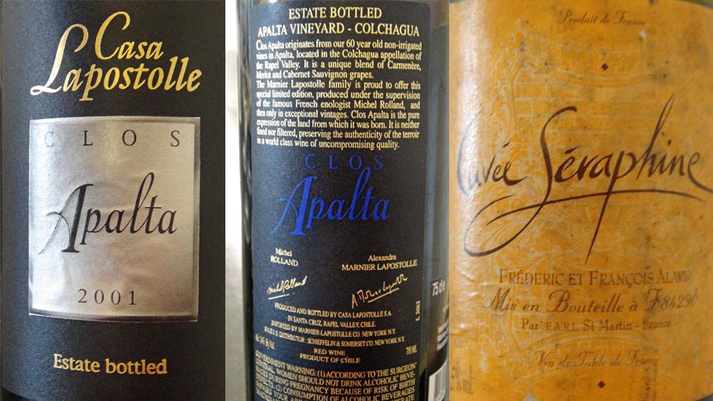 """Clos Apalta 2001 de Marnier Laposole - Vin de table """"Cuvée Séraphine"""" de Frédéric & Fraçois Alary"""