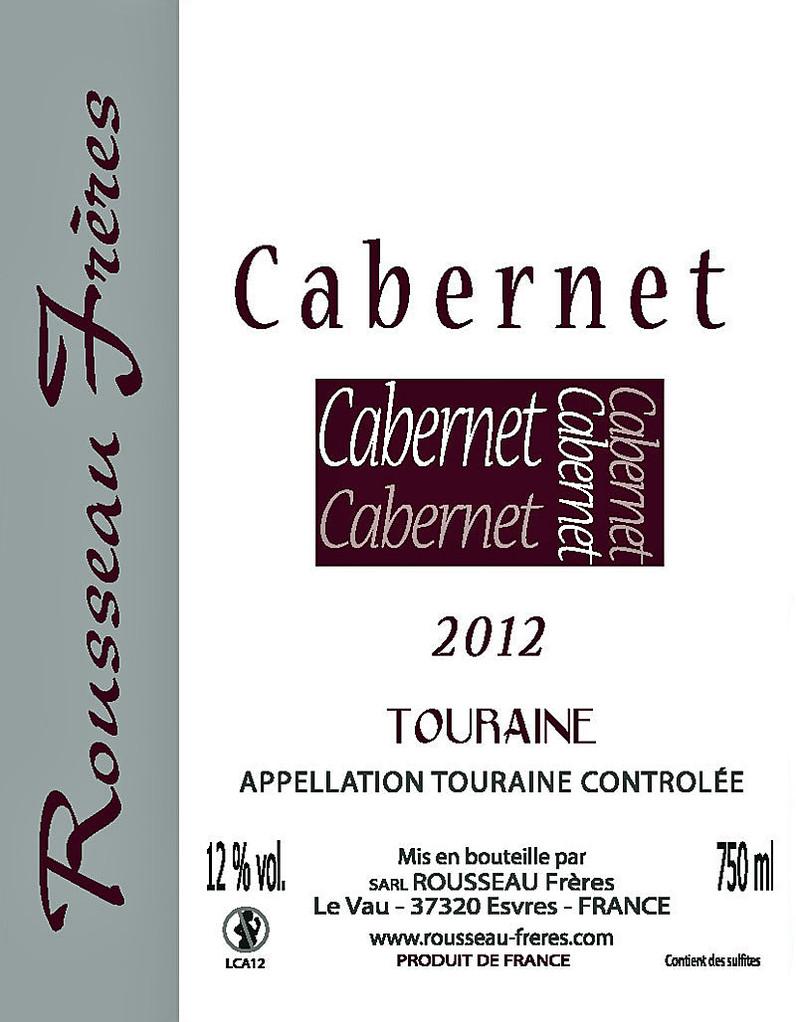 Étiquette Cabernet 2012 - Source : site des frères Rousseau