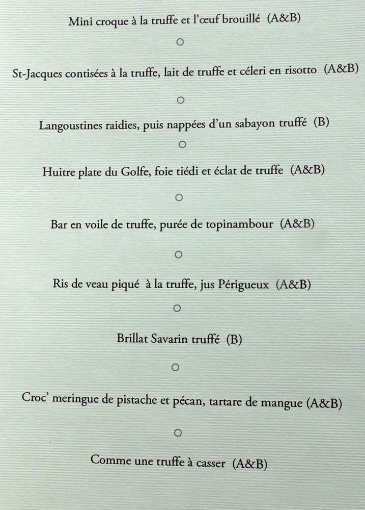 "Le menu ""truffe"""