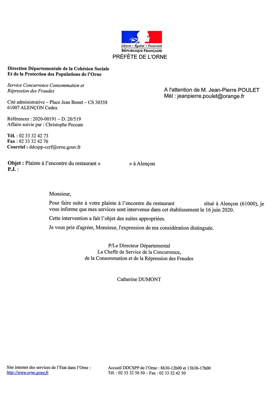 Réponse de la DDCRF de l'Orne
