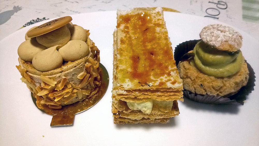 Les trois gâteaux achetés : Rocher de Cancale - Millefeuille - Chou Paris-Cancale