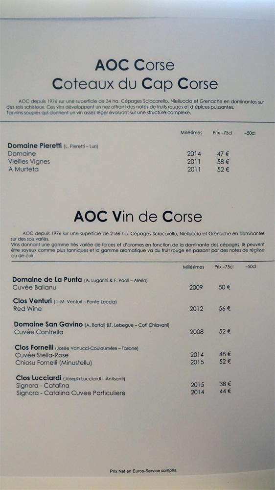 Vins rouges de Corse