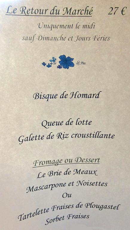 """Menu du Marché et sa fameuse """"Tartelette"""""""