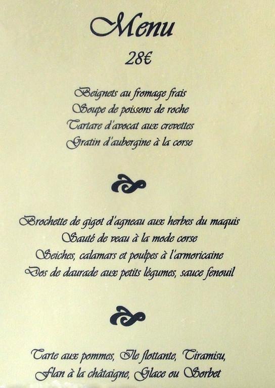 Le menu à 28 € 00