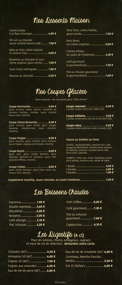 La carte : Desserts - Boissons chaudes - Digestifs