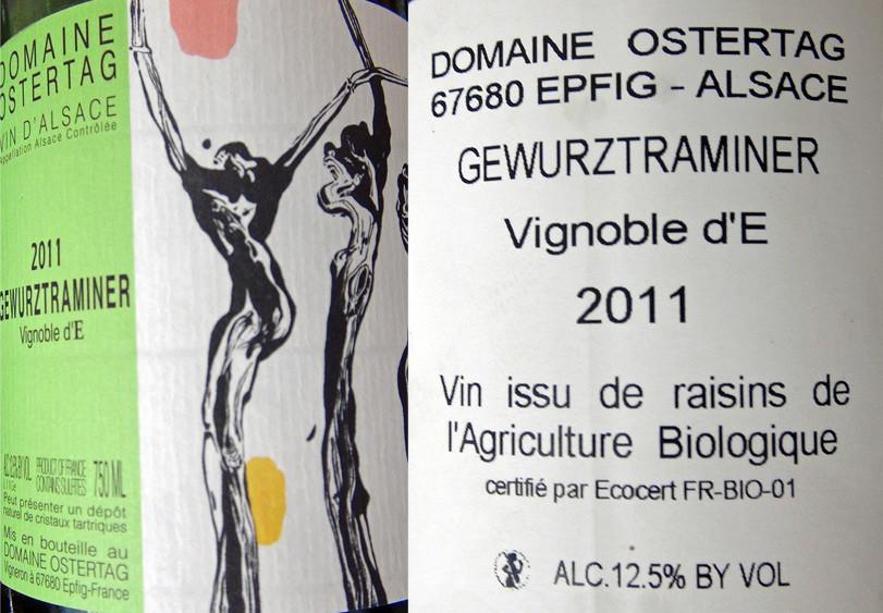 """Alsace gewurztraminer 2011 """"Vignoble d'E"""" d'Ostertag"""