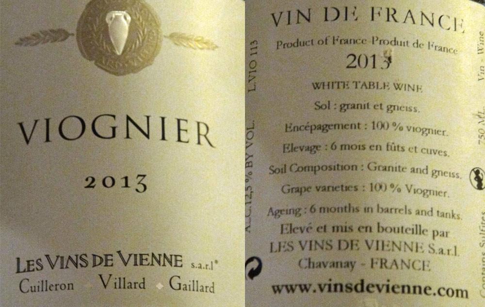 "Vin de France 2013 ""Viognier"" de Cuilleron -Villard – Gaillard"