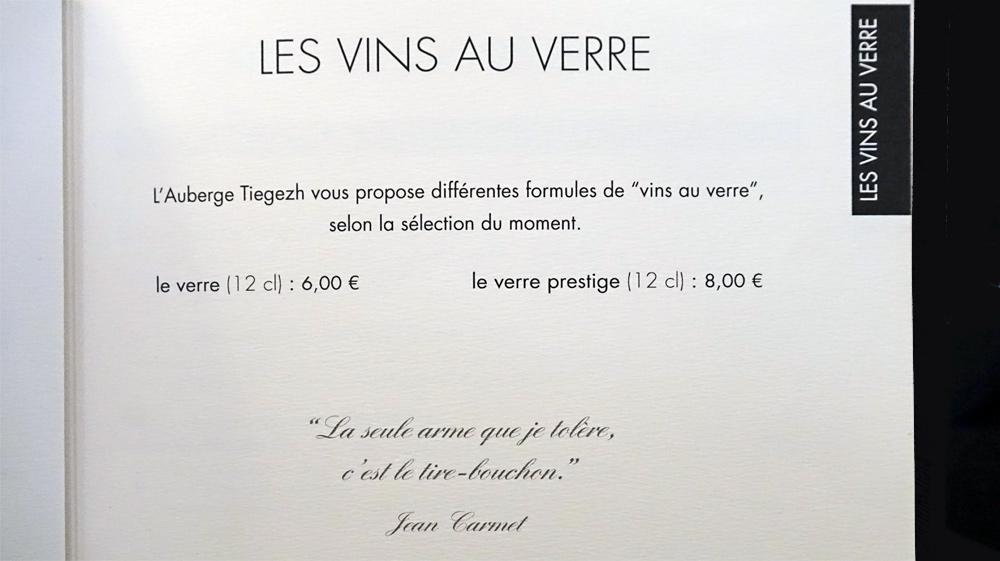 Les vins au verre