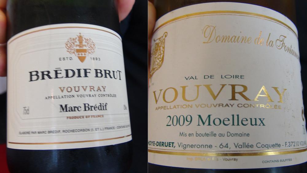 Apéritif : Vouvray méthode traditionnelle Brédif et Vouvray moelleux 2009 Dhoye-Deruet