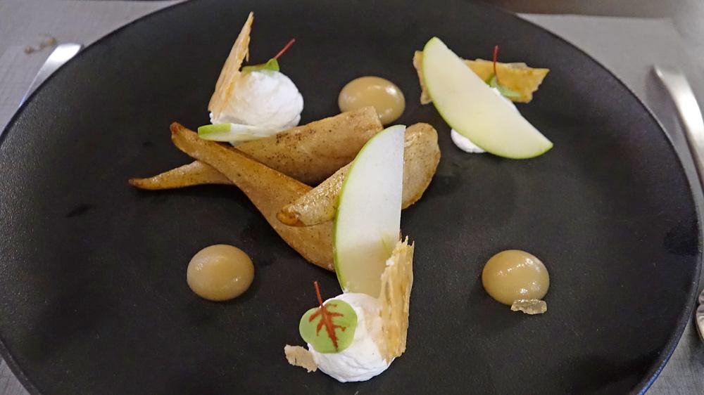 Pommes/poires, croquant citron vert et Chantilly vanille