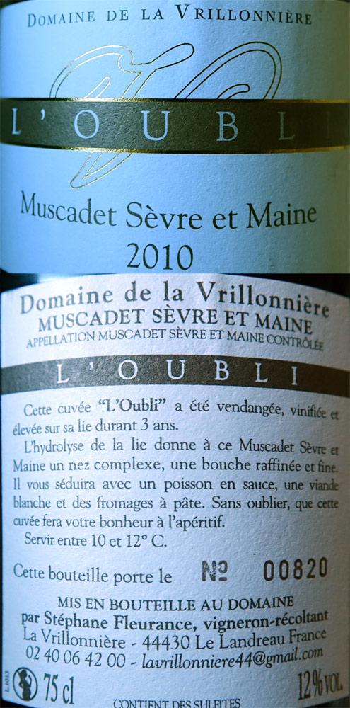 """Muscadet de Sèvre-et-Maine 2010 """"L'Oubli"""""""