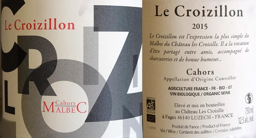 AOC Cahors Le Croizillon 2015
