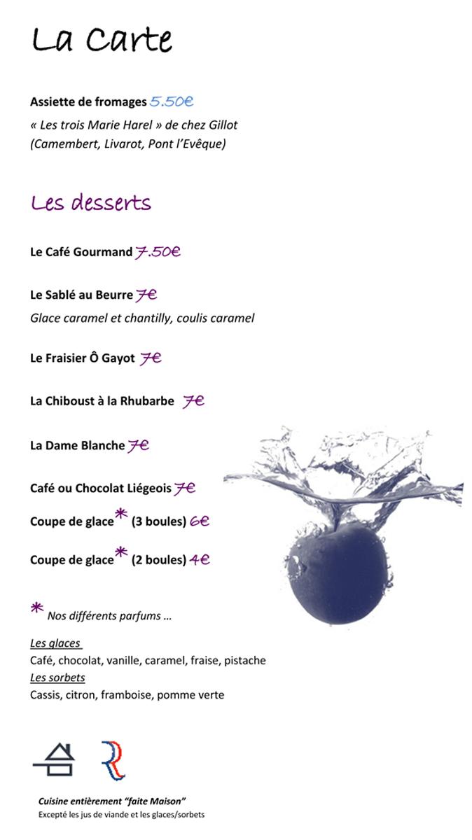 La carte : les desserts