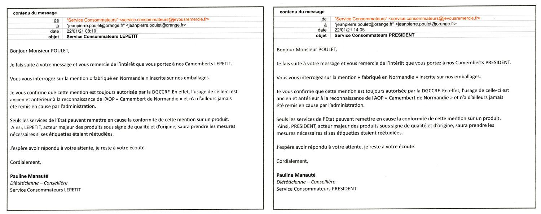 Réponses de Lepetit et Président