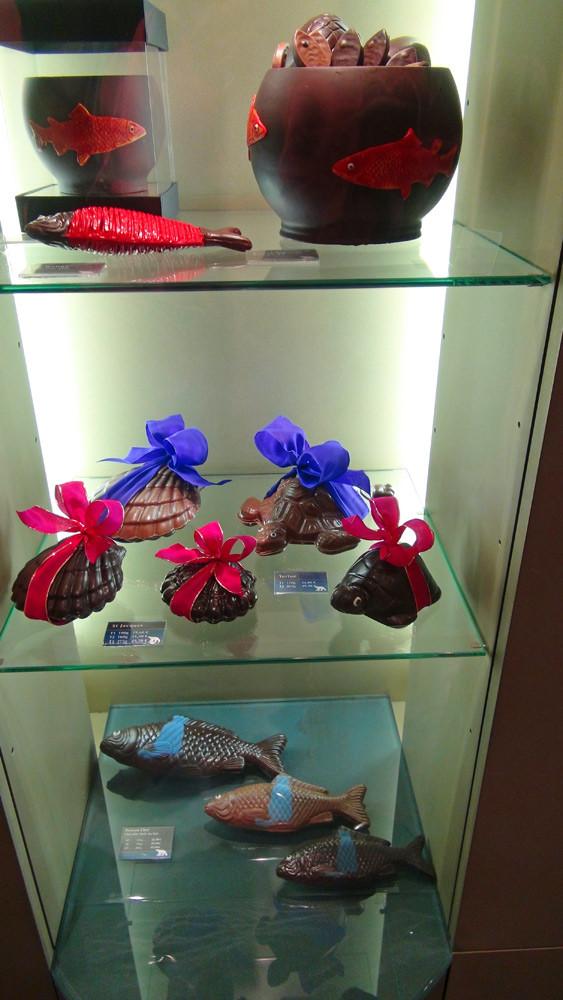 Chocolats de Pâques (Poissons - Aquarium - Saint-Jacques - Tortue)