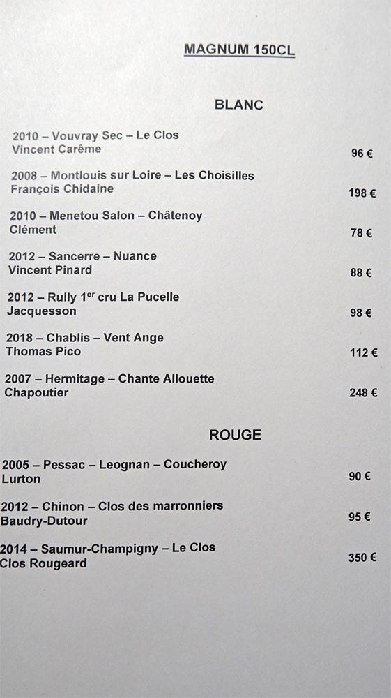 Les magnums de vins blancs et rouges
