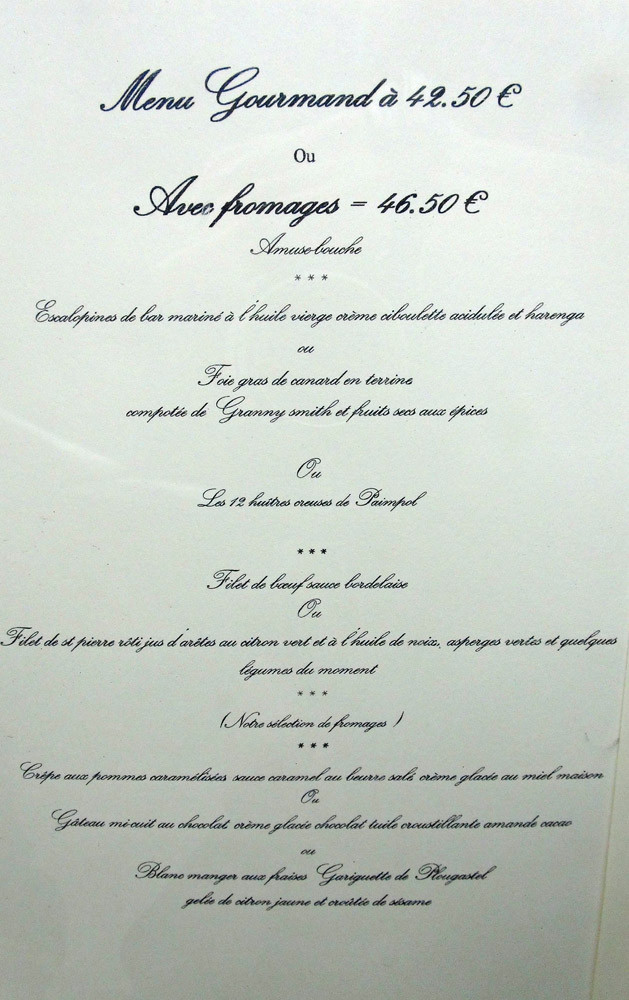 "Menu ""Gourmand"""