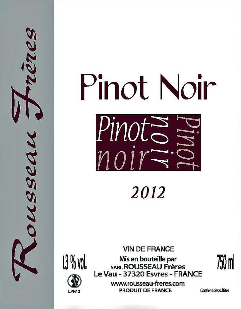 Étiquette Pinot Noir 2012 - Source : site des frères Rousseau