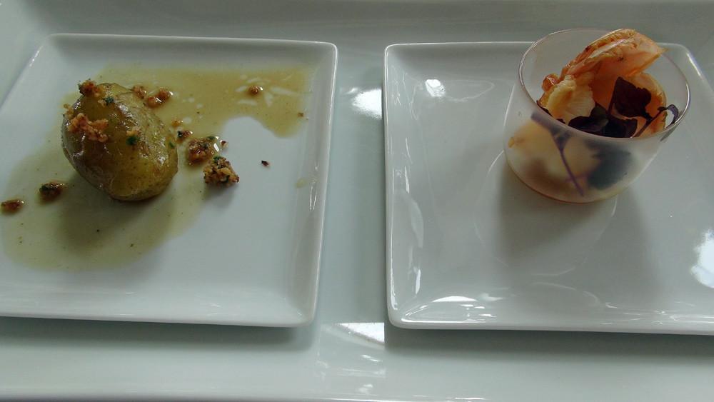 Langoustine rôtie puis rafraîchie, blanc de poireau du Poitou & cube fe foie gras de canard de la maison Mitteault, fine gelée au baume de Bauteville par Fabien Dupont