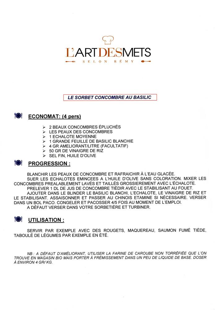 """Recette du """"Sorbet concombre au basilic"""""""