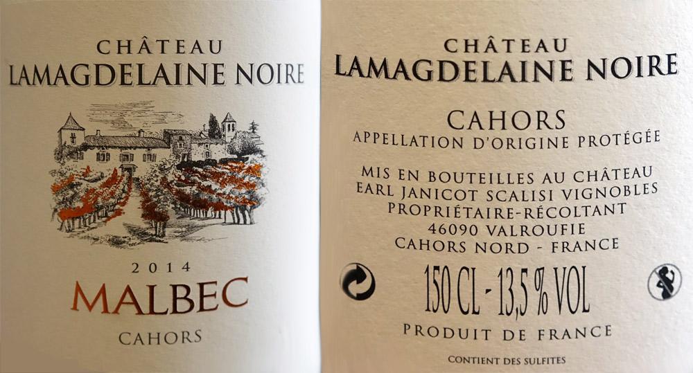 AOC Cahors 2014 Lamagdelaine Noire Malbec